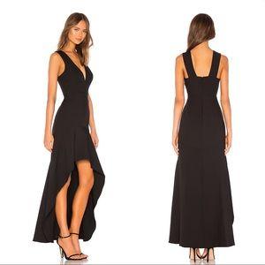BCBGMAXAZRIA Plunging Hi Low Gown in Black
